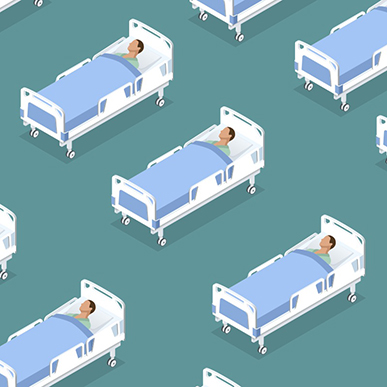 Illustration of hospital beds