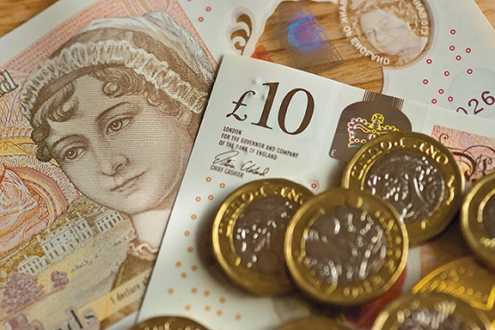 English currency in notes and coins