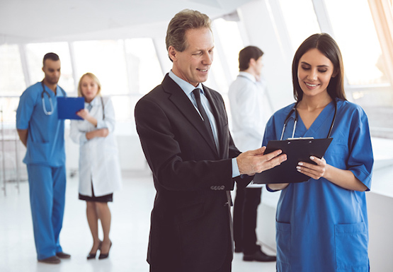 Health care professionals in conversation