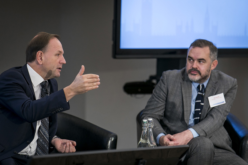 Jon Restell in discussion with NHS England chief executive Simon Stevens at the MiP Members' Summit in October 2017.