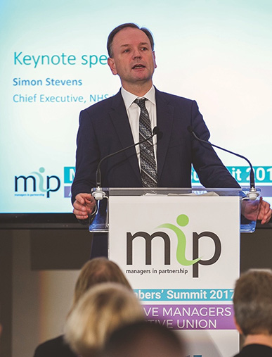 NHS England chief executive Simon Stevens speaking at a conference