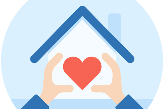 Homeworking icon with heart inside house
