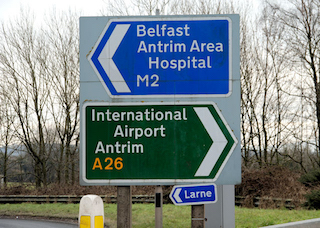 Belfast and Antrim road sign