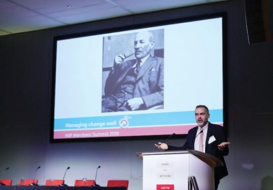 Jon Restell speaking at an MiP Summit