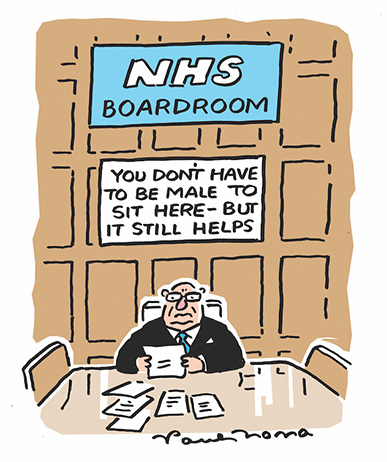 Tipster cartoon - NHS boardroom: You don't have to be male here but it helps